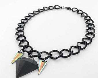 Black diamond necklace with fangs. Handmade with polymer clay, Swarovsky crystal, and upcycled black chain.
