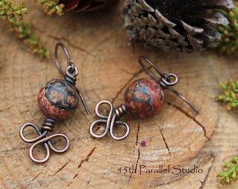 Leopardskin Jasper Earrings, Jasper Earrings, Copper Earrings, Celtic Earrings, Copper Jewelry, Beaded Earrings, Patina Earrings, Jasper