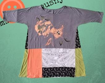 Artsy Tunic, Womens Clothing, Upcycled Dress, Upcycled Tunic, Upcycled Shirt, Floral Shirt, Funky, Lagenlook, Art Dress, Eco Friendly