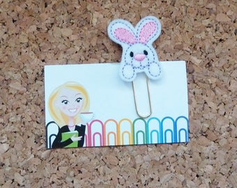 Bunny Planner Clip, Easter Felt Paper Clip, Refrigerator Magnet, Cute Brooch Pin, Planner Accessories, Ribbon Bookmark, 512