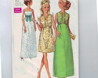 1960s Sewing Pattern Simplicity 8191 Misses Evening Gown Dress in Two Lengths and Bolero Jacket Size 10 Bust 32 33 1969 60s