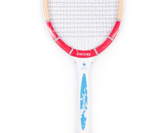 Vintage Wooden Tennis Racquet / Red Blue Spalding Encore Tennis Racket / Antique Wood Tennis Racket Antique Tennis Racket Sports Decor