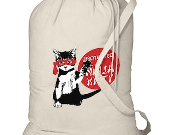 Protected By Ninja Kitty New Laundry Bag Camp Tote Gifts Cat
