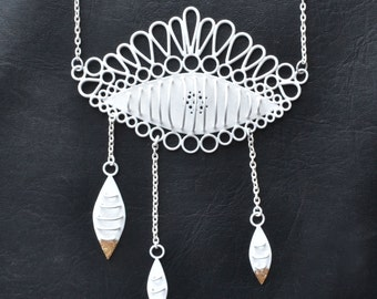 Large eye pendant, white chain, eye shaped statement necklace, white powder coat with 24 karat gold leaf detail, long white chain
