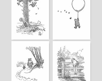 "Classic Winnie the Pooh Art (Black and White Nursery, Boys Room Wall Decor, Baby Girls Bedroom Prints) ""Winnie's Adventures"" - Set of 4 SALE"