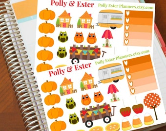 Planner Stickers, 24 Fall Planner Stickers, Ombre Sticker, Autumn Planner Stickers, Weekly Planner, Planner Accessories, Fits Erin Condren