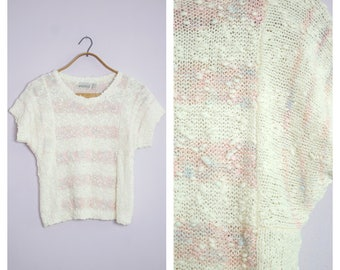 Vintage 1980's Boucle Knit White + Pink Stripe Cap Sleeve Sweater S/M