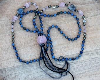 ZenHappy Heirloom Mala Bead Necklace with Tassel - Denim Blue Dumortierite, Rose Quartz, Pyrite and Sterling Silver; Boho Necklace
