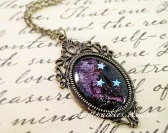 Purple Star Galaxy Necklace. Glass Cabochon. Star Gazer. Night Sky. Black & Purple. Silver Stars. Deco Style Setting. Brass. Vintage Style.