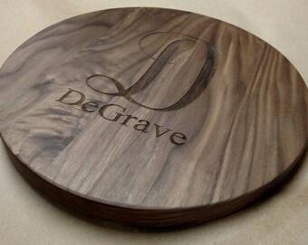 "Engraved Walnut Lazy Susan Turn Table 12""-14"" Center Piece Solid Hardwood"