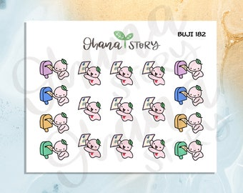 BUJI 182   Buji Send and Receive Happy Mail / Snail Mail / Pen Pal   Hand-drawn Planner Stickers