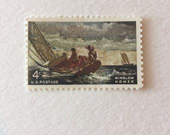 10 Vintage 4c US postage stamps - Winslow Homer 1962 - Breezing Up painting nautical sailboat ocean sailing artist - unused