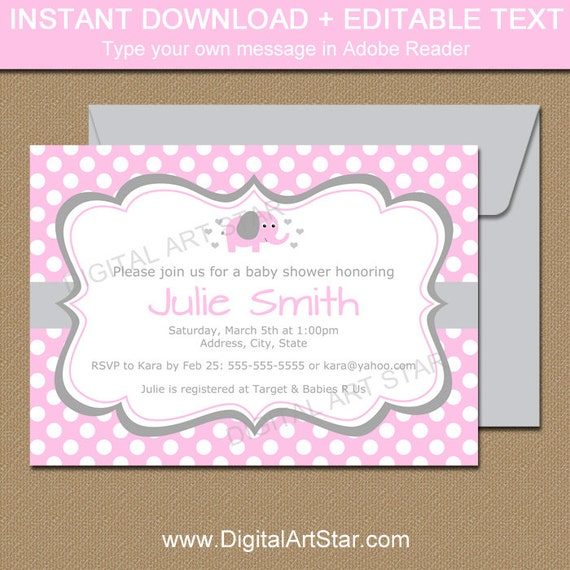Pink elephant baby shower invitations pink and grey elephant pink elephant baby shower invitations pink and grey elephant baby shower invites girl baby shower invites pink elephant birthday invites filmwisefo Images