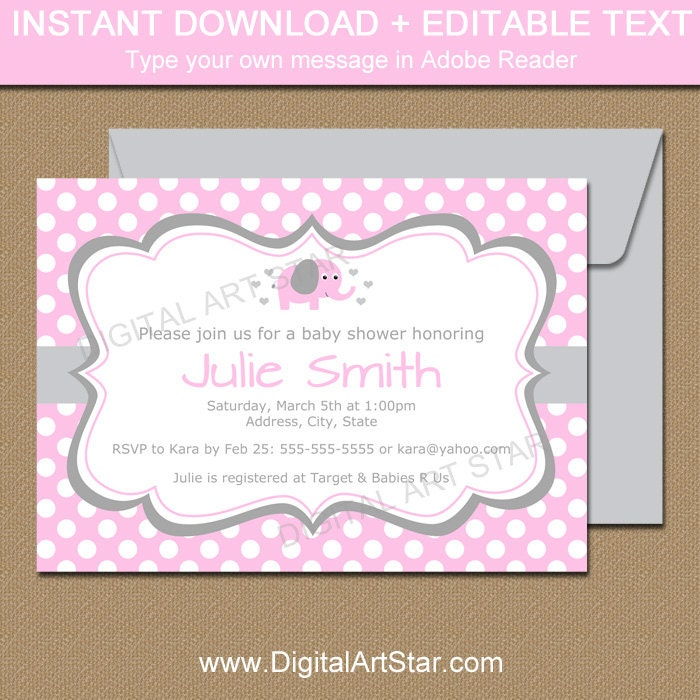 Pink Elephant Baby Shower Invitations Pink and Grey Elephant