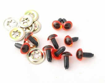 5 x pairs of 10.5mm Amber Safety Eyes with Metal Washers