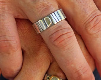 Genuine Diamond Slice Ring Size 10 Unique Mens Ring Sterling Silver Mens Wedding Band Mens Wedding Ring Mens Ring Viking Wedding Ring Weddin