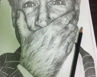 Robin Williams A4 portrait.