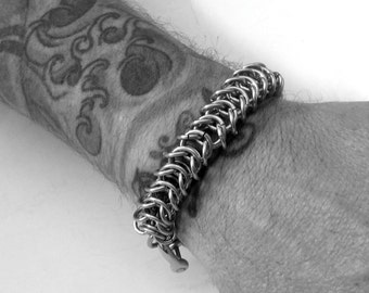 Mens Silver Bracelet, Mens Bracelet, Kings Link Chain, Stainless Steel Jewelry, Chainmail Bracelet, Jewelry For Him, Thick Metal Bracelet