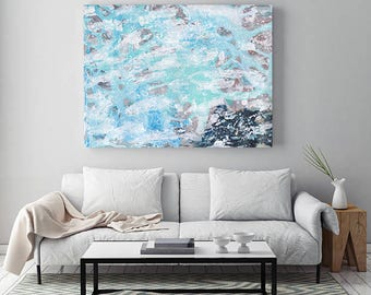 Blue Abstract Art Canvas, Large Blue Beige Abstract Wall Art Painting, Large Canvas Art, Blue Abstract Painting, Contemporary Art Print