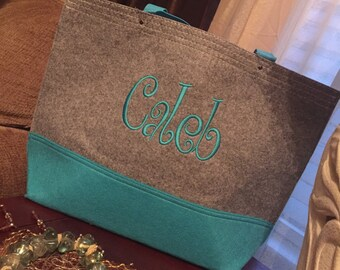 Personalized Monogrammed Felt Tote Bridesmaids Gift Bride Wedding Gift Felt Tote