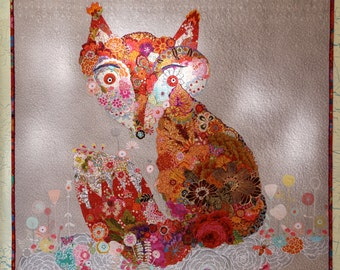 SALE— FOX COLLAGE Art Quilt Wallhanging Rust Red Yellow Orange Pink White