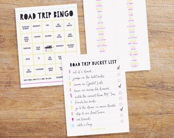 Car Activities for Kids - Printable Road Trip Bucket List - Customizable Car Bingo - License Plate Game