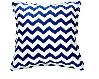 Pillow Square - Navy ZigZag