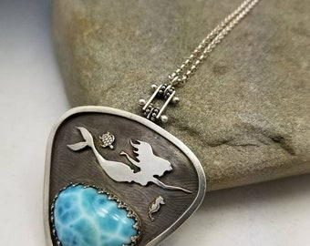 Larimar and Mermaid Artisan Necklace with Seahorse and Sea Turtle Sterling Silver Pinned Necklace READY TO SHIP Mermaid Life Delia Stone