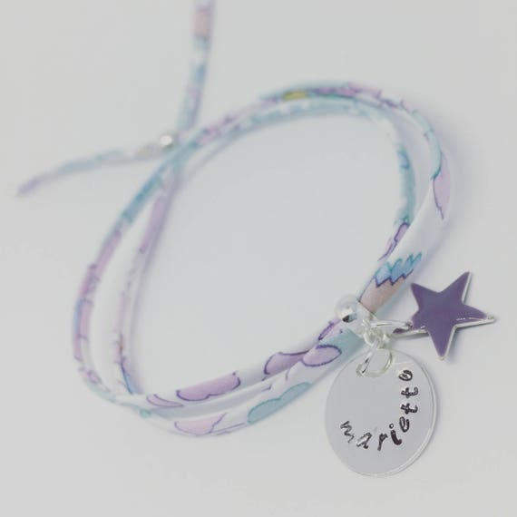 Liberty child * my 1st GriGri Liberty BETSY CELADON with custom engraving. Baby bracelet