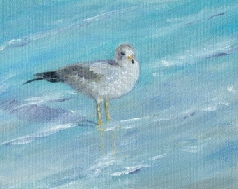 Seagull Original ACEO Oil Painting Seaside