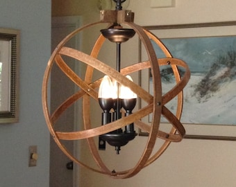 """ORB CHANDELIER LIGHT 14"""" Atomic Light Fixture Industrial Lighting Pendant Sphere Rustic Unique Hanging Dining Room Bedroom Kitchen Light"""