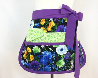 Floral Sassy Half Vendor/ Teacher Apron, 6/8 pockets, Womens Regular and Plus SIzes, great for Teachers, Vendors, Crafts, Farmers Market