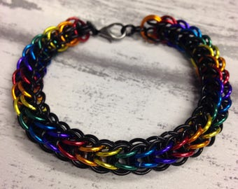Persian foxtail rainbow chainmaille bracelet