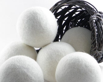 6 -100% Natural Wool Dryer Balls - Handmade, Eco-Friendly, Reusable