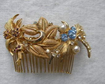 Gold Hair Comb with Purple & Blue Diamante and Pearls ~ Handmade with vintage leaf brooches ~ Woodland Wedding ~ Flowers ~ Something Blue