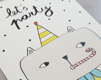 Let's party. Digital print. Kids room. Nursery baby. Decor walls. Animal print. Cat decoration.