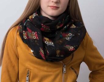 Infinity scarf, owl print scarf, tube scarf, snood, loop scarf, women's tube scarf, ladies scarf, black scarf, bird print,  gift