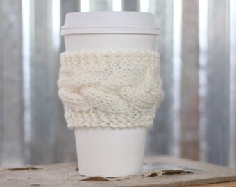 Cream Cable Knit Coffee Cozy w/Wood Button/ Tea Cozy/ Cup Cozy/ Coffee Cover/ Coffee Sleeve/ Latte Cozy