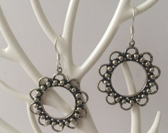 Delicate Ethnic Style 925 Oxidised Silver Drop Down Dangle Earrings  with Beautiful Round Shaped Party wear earrings for Girls / women