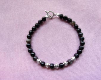 Men's Black Agate and Pewter bracelet
