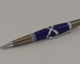 Wall Street II Elegant Roller Ball twist pen, Lapis with white jasper inlay