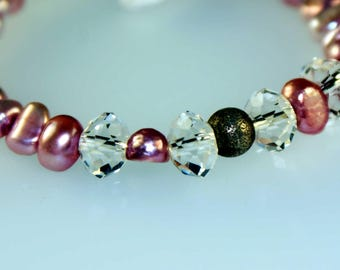Pink Pearl Bracelet, Silver Beads and Closure, Swarovski Crystals