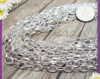 Silver Plated Oval Chain 6mm x 4mm links - Bulk Silver Chain 16 feet C9