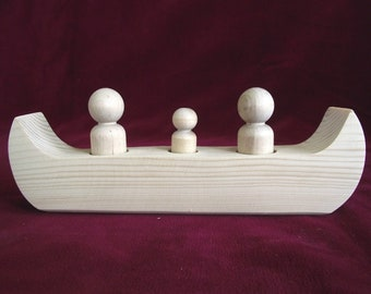 Family Canoe for 3, Unfinished Wood Toy with Peg Dolls