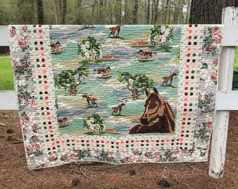 Horse Quilt, Paint By Number Quilt, Equestrian Quilt, Throws, Blankets, Floral Paint By Number, Horse Print, Purebred, Horse Bedding