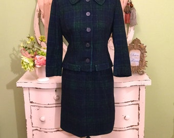 Vintage Blue & Green Plaid Skirt Suit 60s Two Piece Size XS-S Pencil Skirt and Jacket Two Piece