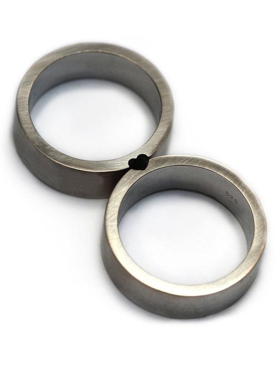 Wedding ring set Heart ring Love ring Sterling silver