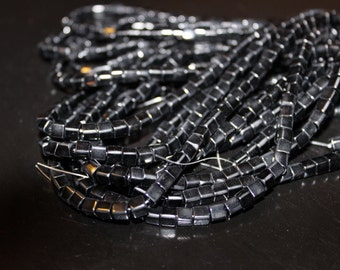 85 piece strand black glass cubes 4x4mm
