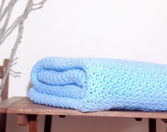 Ready to Ship  Beautiful and Luxuriously Handcrafted CROCHET Blanket Throw LIGHT BLUE