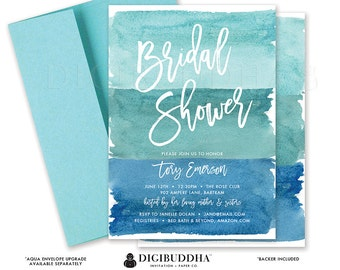 BRIDAL SHOWER INVITATION Watercolor Bridal Shower Invite Ocean Turquoise Blue Modern Printed or Printable Bridal Shower Invitation - Tory
